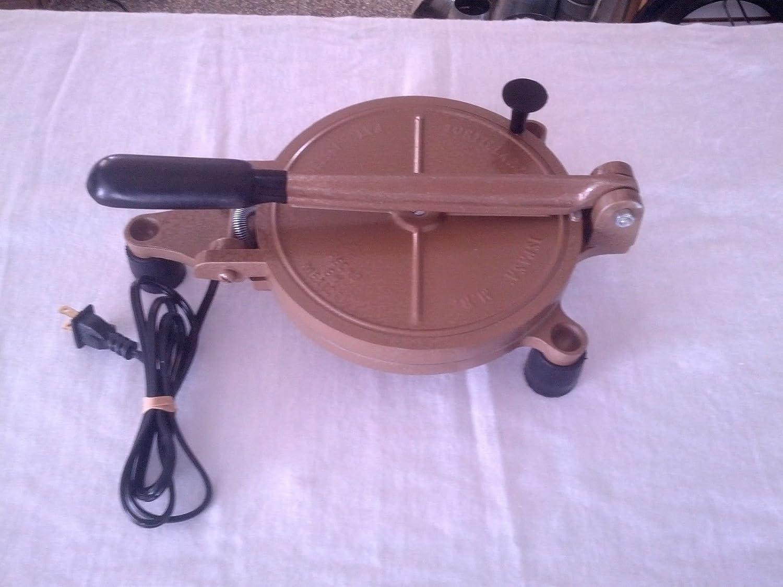 Electric Tortilla Press Mexican Dough Flour and corn tortillas maker machine Cast (Bronze) gn