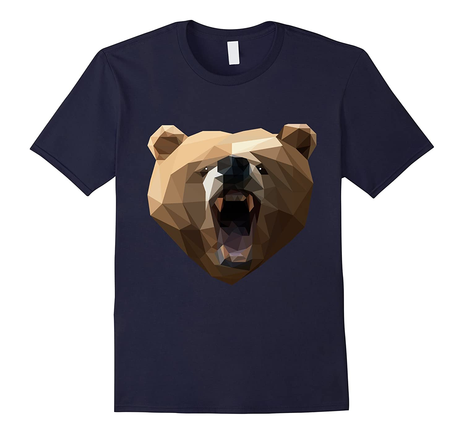 Low Poly Grizzly Bear Face T-shirt Geometric Art Design-TD
