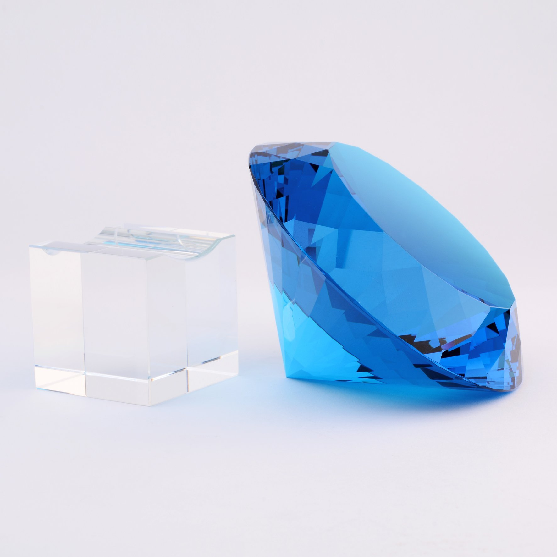 BRLIGHTING Cobalt Blue crystal Diamond Paperweight on stand for Office, Lovely Gift for Friends and Family (D120mm / 4.73'') by BRLIGHTING (Image #6)
