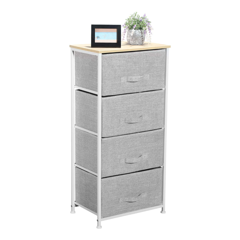Aingoo Dresser Storage 4 Drawers Storage Bedroom Steel Frame Fabric Dressers Drawers for Clothes Grey Wood Board by Aingoo
