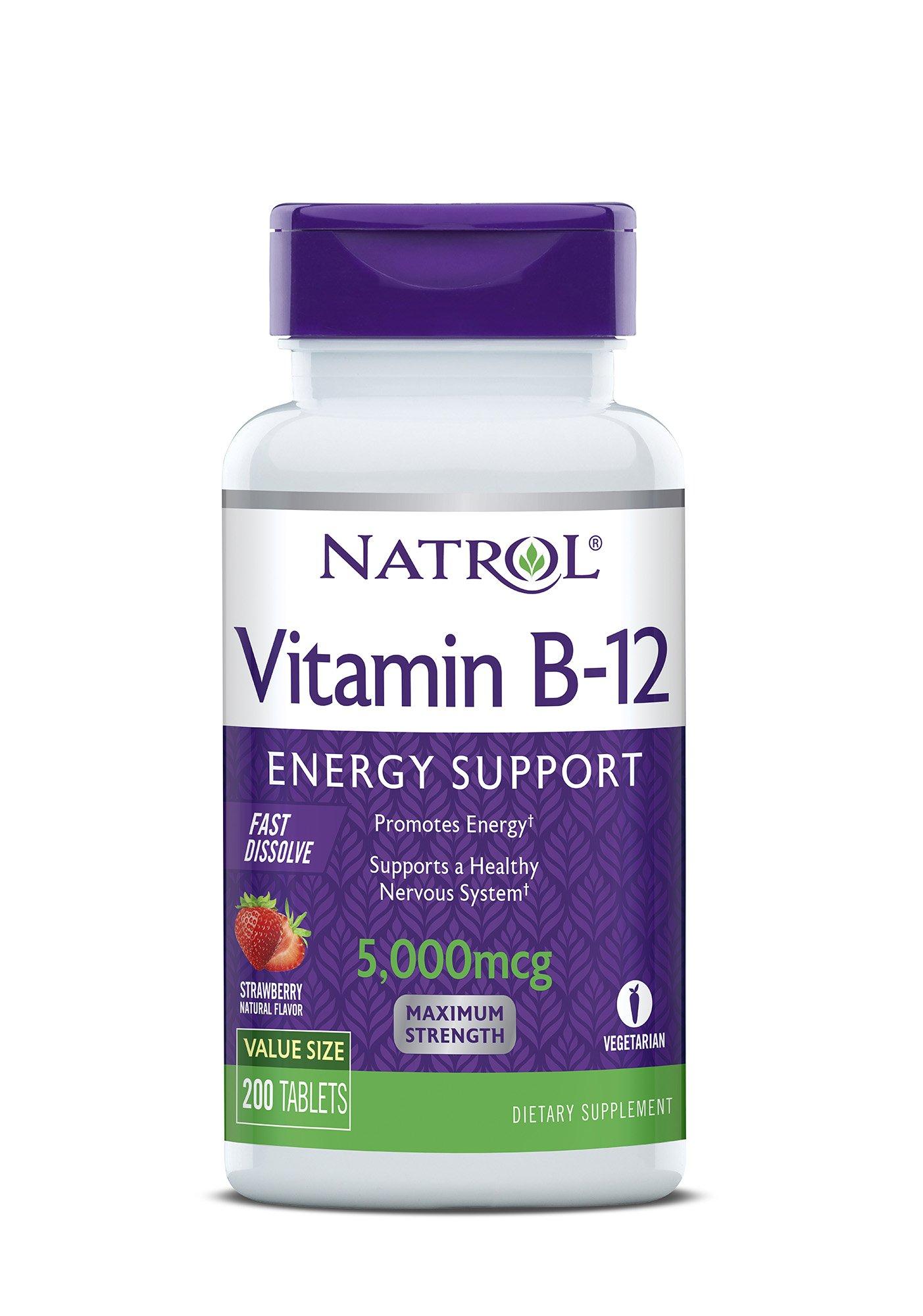 Natrol Vitamin B12 Fast Dissolve Tablets, Strawberry Flavor, 5000mcg, 200 Count