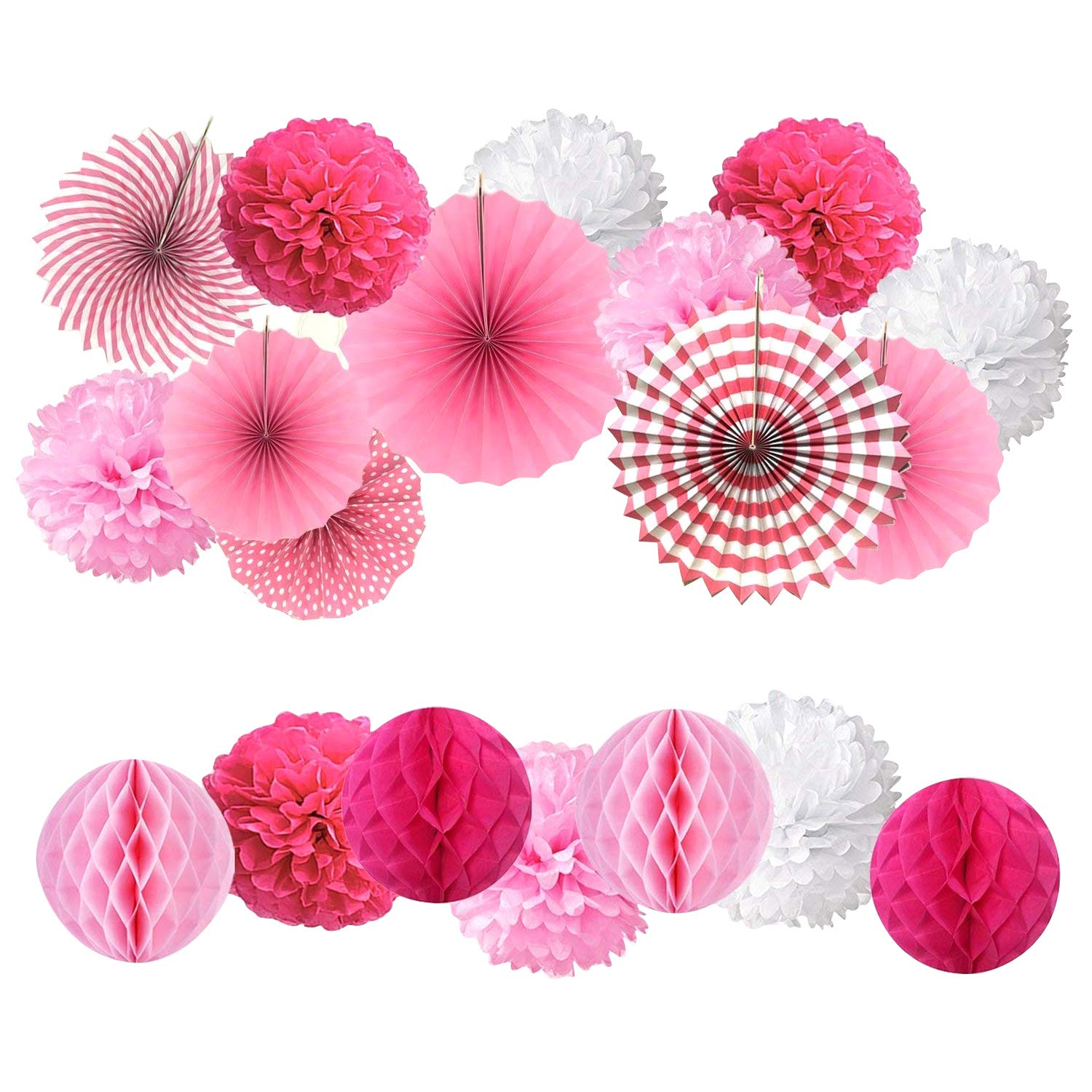 19 confezione mista carta velina pompon fiori/Paper fans/a nido d' ape palle, Hanging Paper fan set per compleanno Baby Shower wedding festival Decorations – rosa MYSWEETY