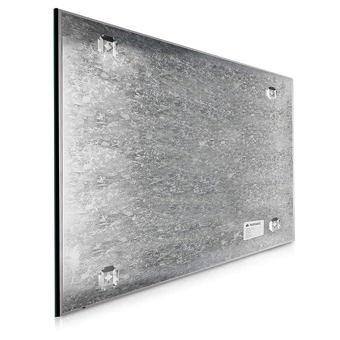 Navaris Tablero de Notas magnético de Vidrio - Pizarra magnética de recordatorios 60x40 cm en Negro - Incluye Marcador imanes y Soporte