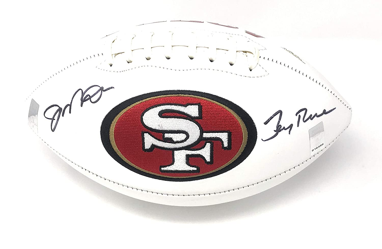 Joe Montana Jerry Rice San Franciso 49ers Dual Signed Autograph Embroidered Logo Football GTSM Dual Player Holograms