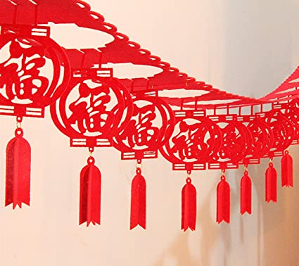 Amazon Chinese New Year Decorations Fu Spring Festival Home Decor Good Luck Red Hanging Garland For Living Room Bedroom Restaurant Decoration 6