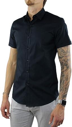 Camisa de hombre de manga corta Slim Fit de algodón elegante ...