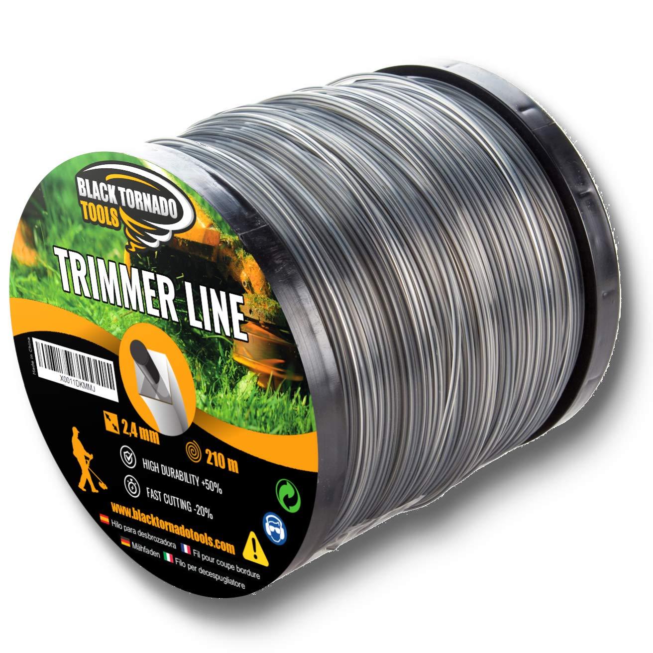 Black Tornado Tools Hilo para desbrozadora en Bobina- Doble - Cuadrado - 4mm - 72m - Calidad Ultra Professional - Bobina (4,0 mm x 72m)