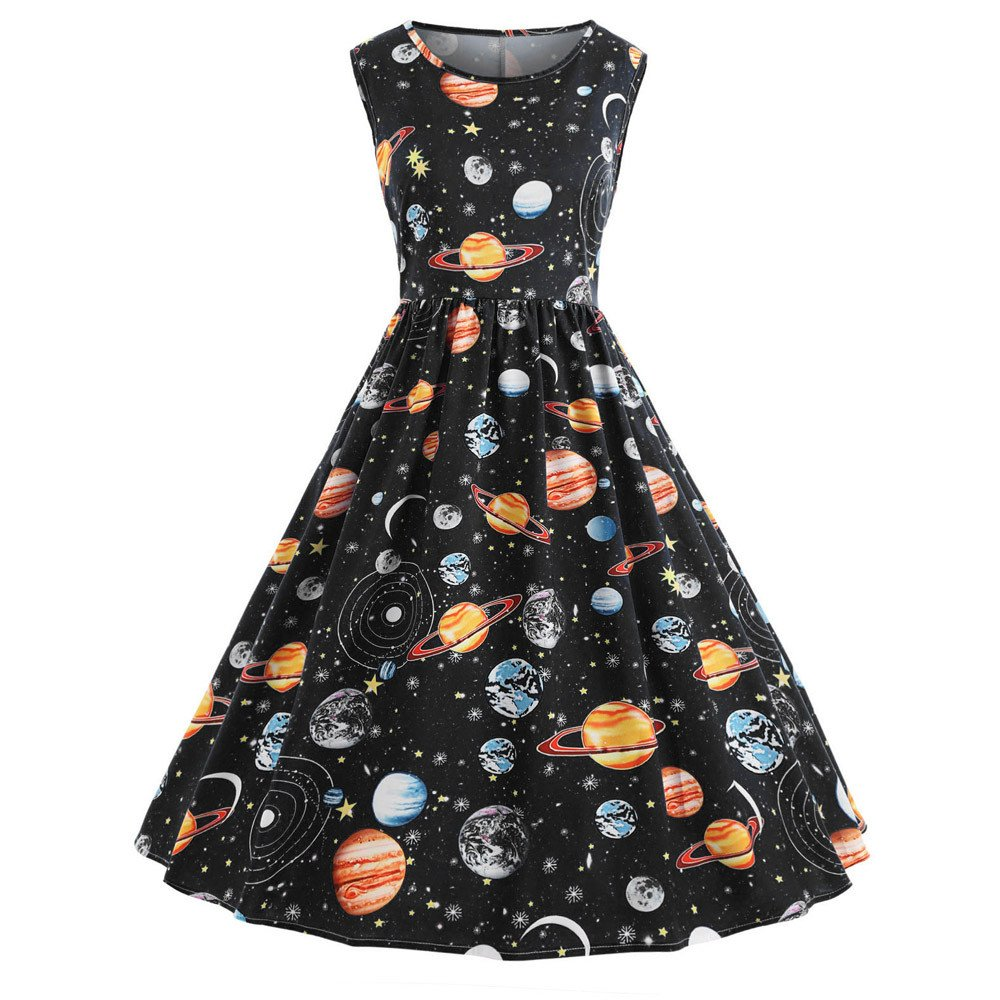 iLUGU Boat Collar Sleeveless Knee-Length Dress For Women Cosmic Planet A-Line Dress Socks For Men