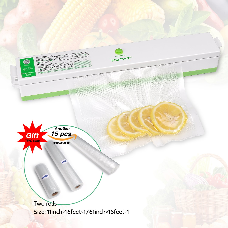 KSCAT Mini Vacuum Sealer, Automatical Vacuum Sealer Best Food Saver and Storage, Including 15 Pcs Vacuum Bags for free, with 2 Vacuum Sealer Rolls