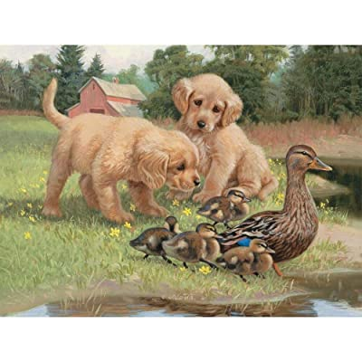 "LANG - 500 Piece Puzzle -""Follow the Leader"", Artwork by Jim Lamb - Linen Finish - 24"" x 18"" Completed: Toys & Games"
