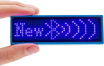 Rechargeable Wireless Bluetooth LED Name Badge Reu... Coolbird Red LED Name Tag