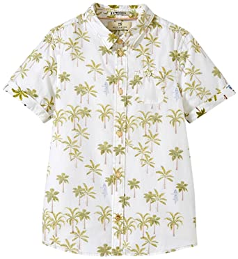 563578da Scotch & Soda Kids Boys' Short Sleeve Button Down Shirt with All Over Palm  Tree