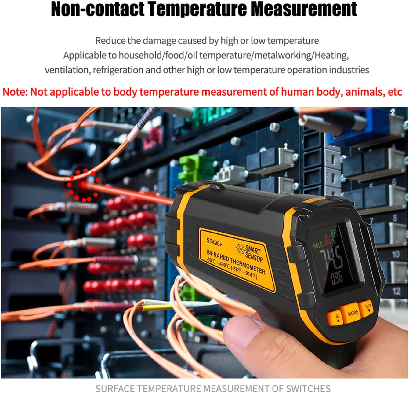 Infrared Thermometer KKmoon Infrared Thermometer 50℃ to 490℃ High Precision Industrial Thermometer Oil Water Temperature Thermoscope ST490+