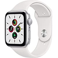 Apple Watch SE 44mm GPS Smartwatch (Silver Aluminum Case with White Sport Band)