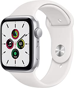 New Apple Watch SE (GPS, 44mm) - Silver Aluminum Case with White Sport Band