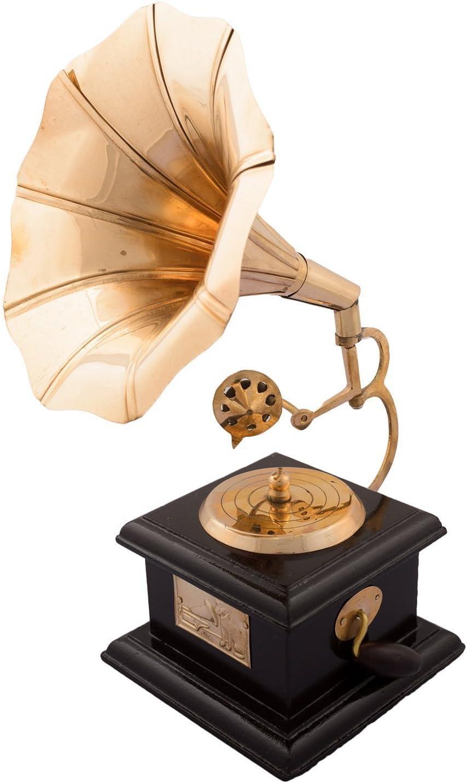 Maharaj Creation Handmade Vintage Dummy Gramophone for Home Decor (Golden)