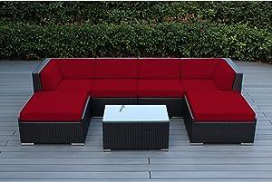 Ohana 7-Piece Patio Wicker Sectional Sofa Set with Cover, Sunbrella Red