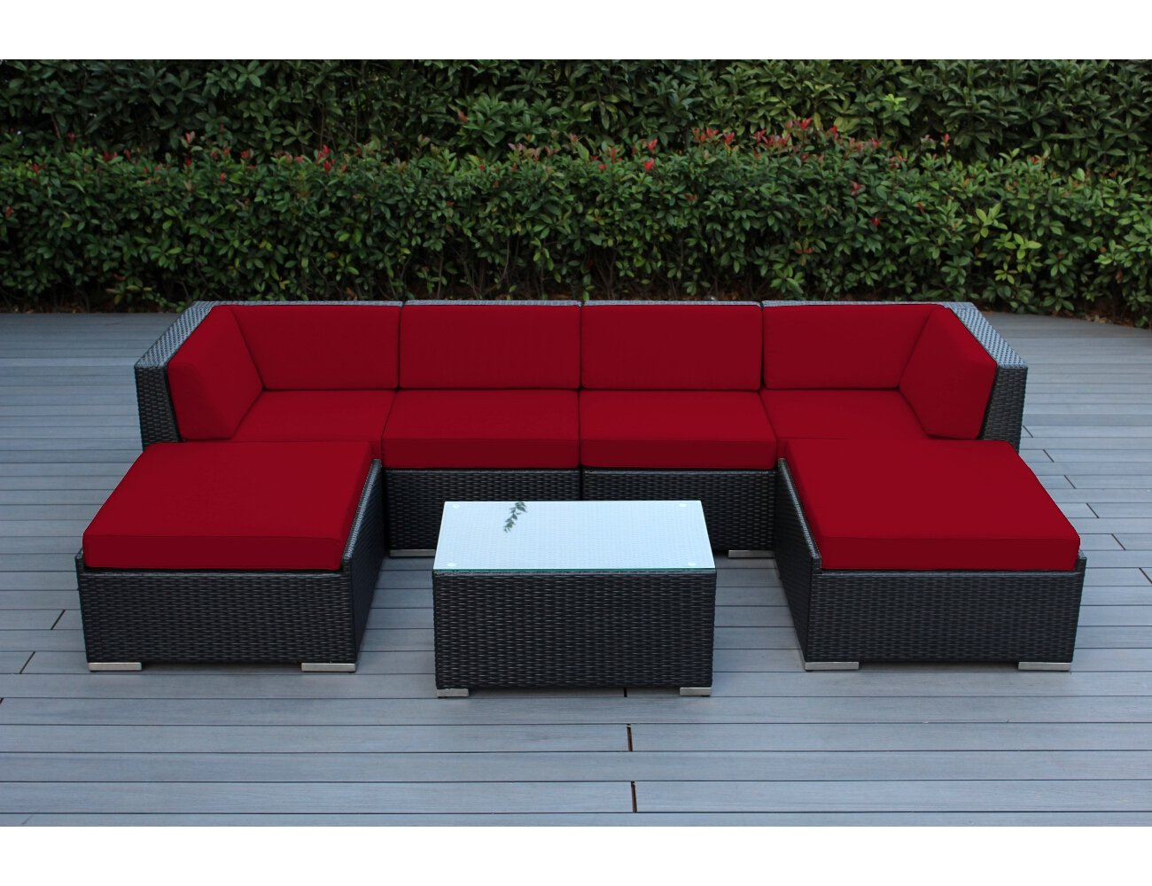 Ohana 7-Piece Patio Wicker Sectional Sofa Set with Cover, Red - All Weather Black PE Resin Wicker Couch Set is modular and can be arranged many ways 7pc Set includes 2 Corner Sofas + 2 Middle Sofas + 2 Large Ottomans +1 Coffee Table. The Sofa set is 28 inches tall to provide full support for your back. Weather resistent cushion covers are durable, resilient against the elements, and zippered for easy cleaning - patio-furniture, patio, conversation-sets - 71z3wVswBwL -