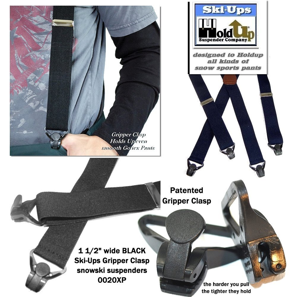 HoldUp All Black Snow Ski-Ups Suspenders in 1 1/2'' width with Patented black Gripper Clasps in X-back style by Hold-Up Suspender Co. (Image #4)