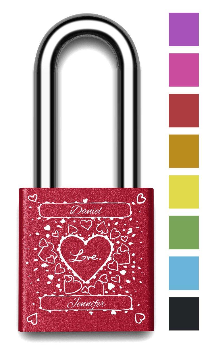 Customizable MakeLoveLocks - I Love You Random Hearts Love Lock 2'' Red