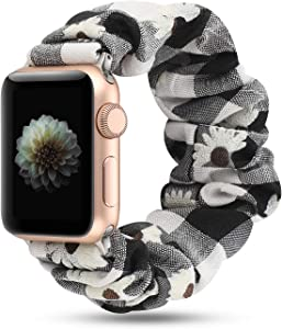 Women Scrunchie Bands Compatible for Apple Watch Band 38mm 40mm 42mm 44mm,Cute Pattern Printed Bracelet Replacement Wristbands for iWatch Series 5 4 3 2 1 (Black daisy, 38/40mm)