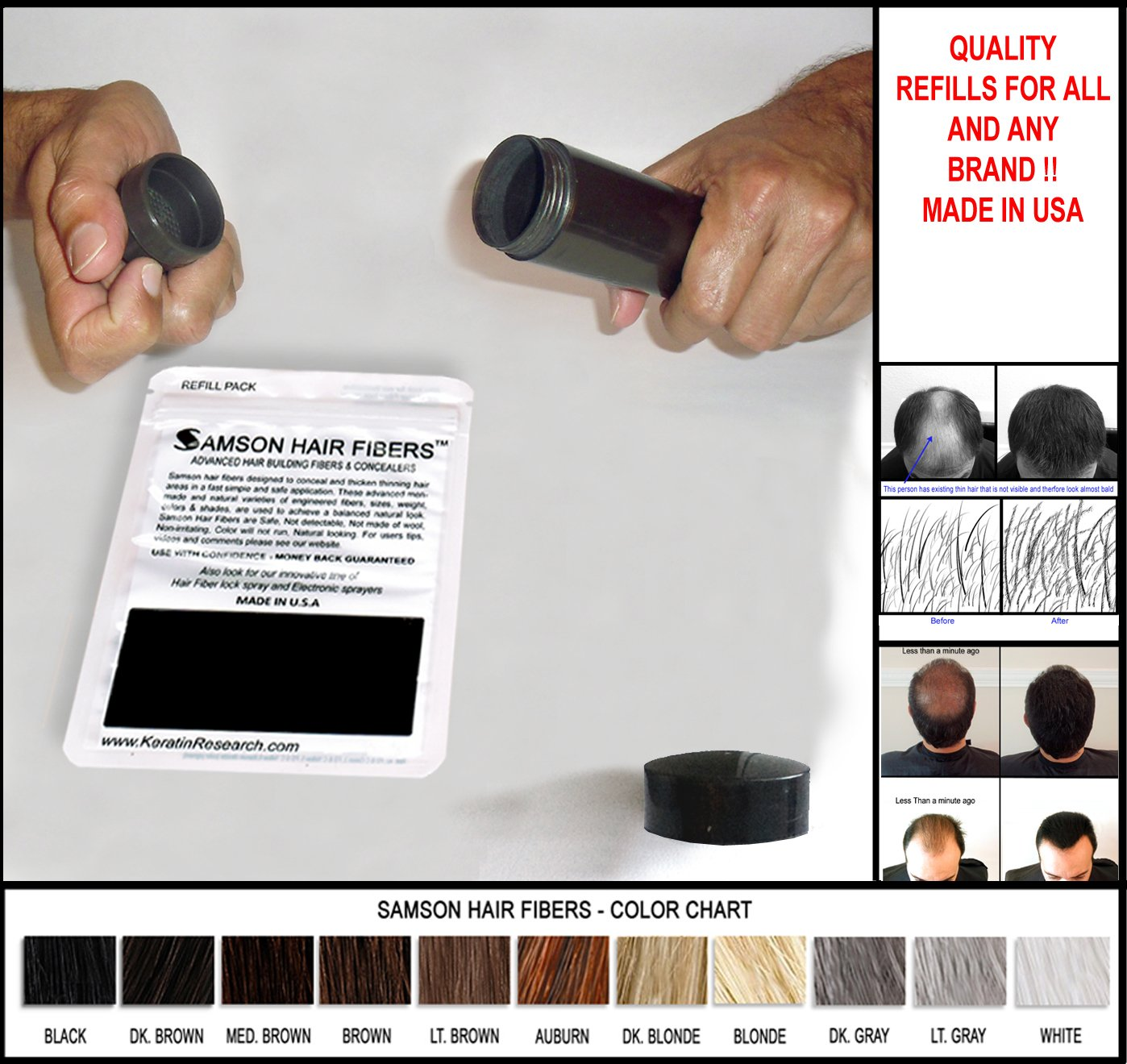 Original Samson Hair Building Fibers DARK BROWN 50gr Refill suitable for all brands FREE SHIPPING USA Keratin Research