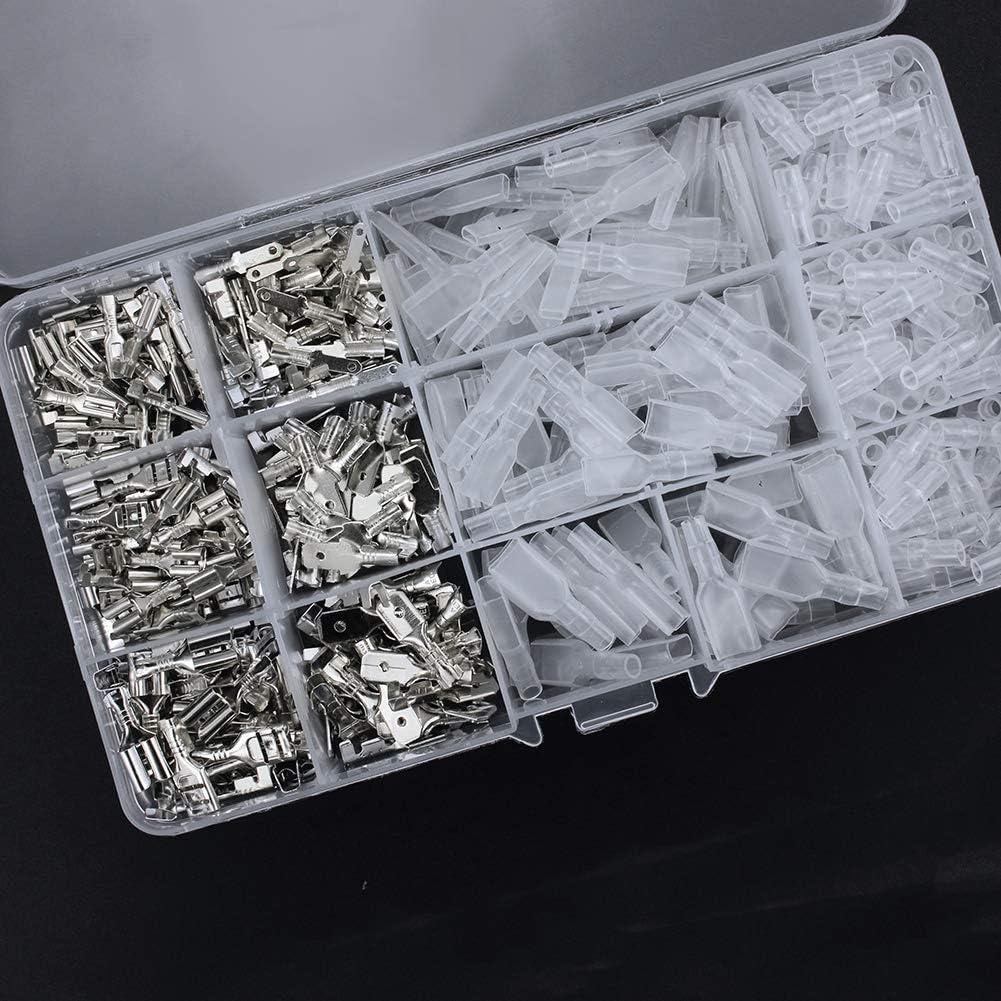 FIXITOK 480 St/ücke Flachsteckh/ülsen Set Golden 2,8 mm 4,8 mm 6,3 mm M/ännlich Weiblich Flachstecker Spade Kabelschuhe Sleeve Terminal mit Isolierh/ülse Sleeve Sortiment Kit