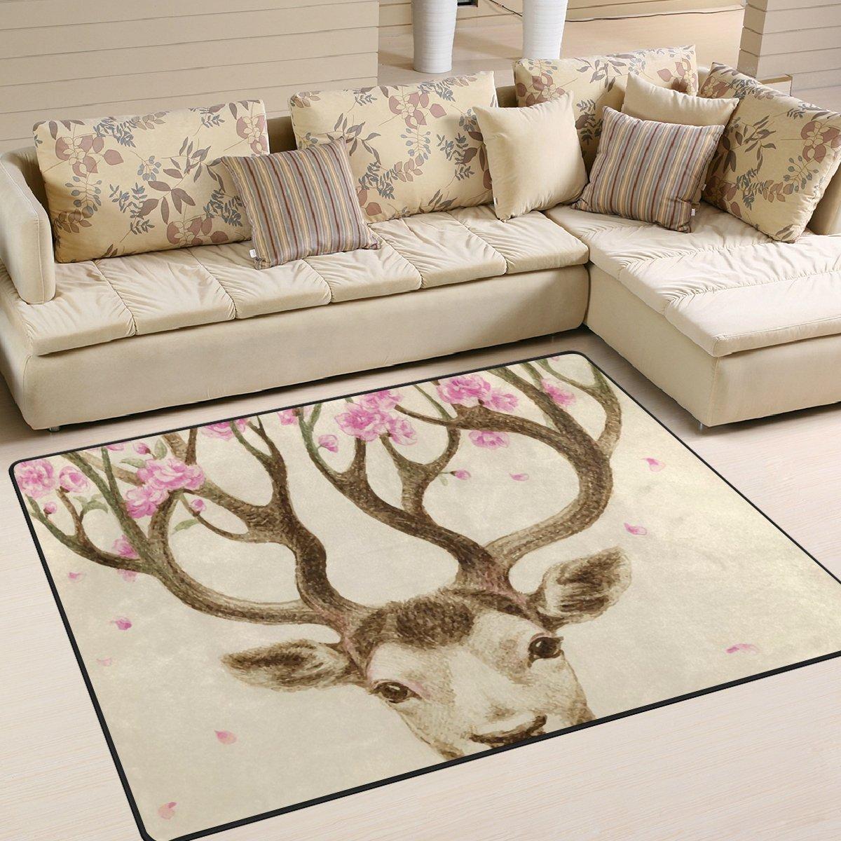 Ingbags Super Weich Moderner Hirsch Blume, ein Wohnzimmer Teppiche Teppich Schlafzimmer Teppich für Kinder Play massiv Home Decorator Boden Teppich und Teppiche 160 x 121,9 cm, multi, 80 x 58 Inch