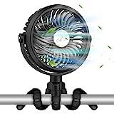 VASG Battery Operated Stroller Fan, Portable Handheld Mini Fan Clip on Fan with Flexible Tripod, USB or Battery Powered Desk
