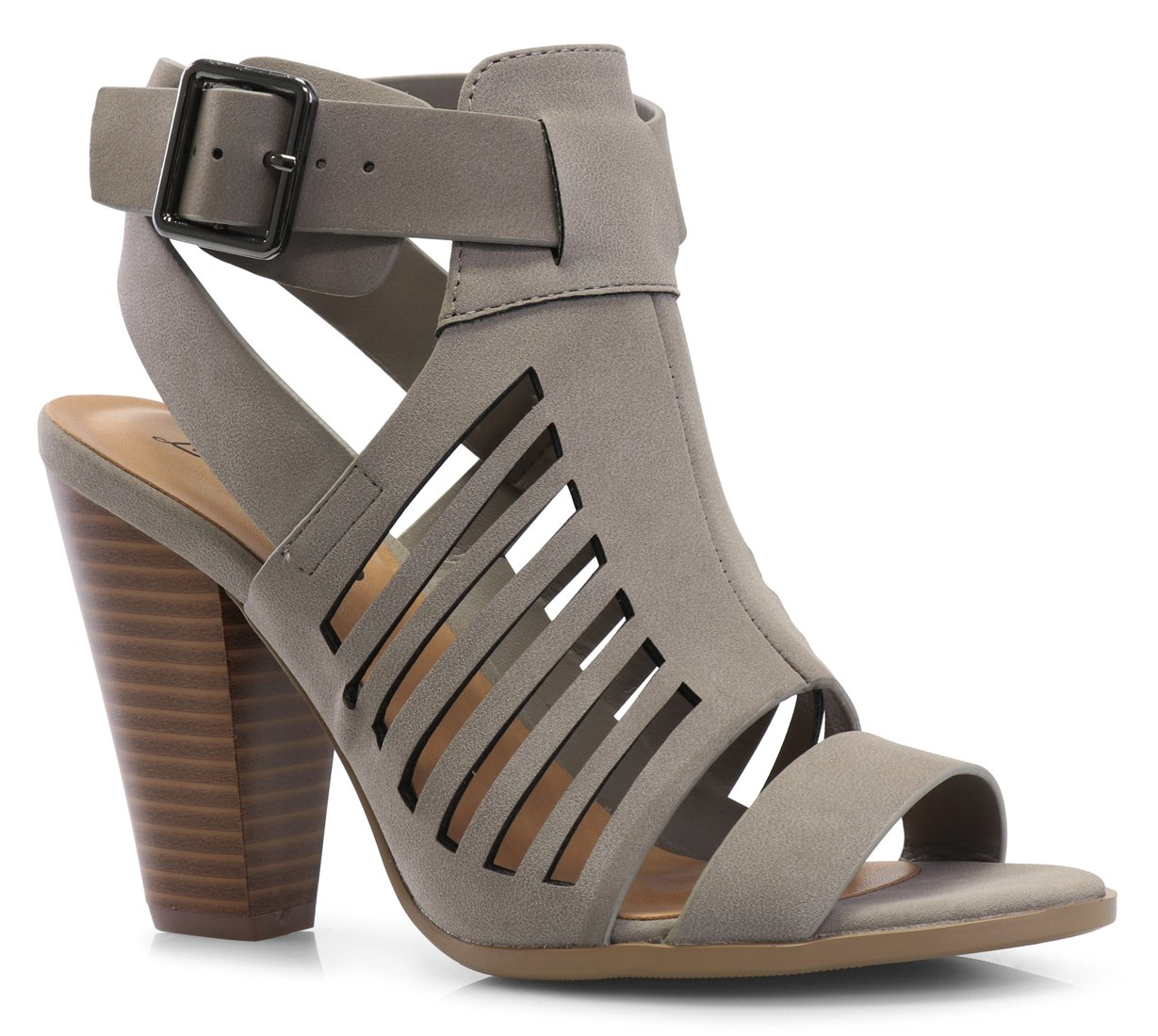 LUSTHAVE Women's Yvonne Laser Cut Sandal - Sexy Wood Stacked Heel - Strappy Open Toe Shoes Gray 9