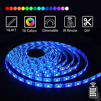 Amazon.com: Tira de luces LED, impermeable, 16.4 pies RGB ...