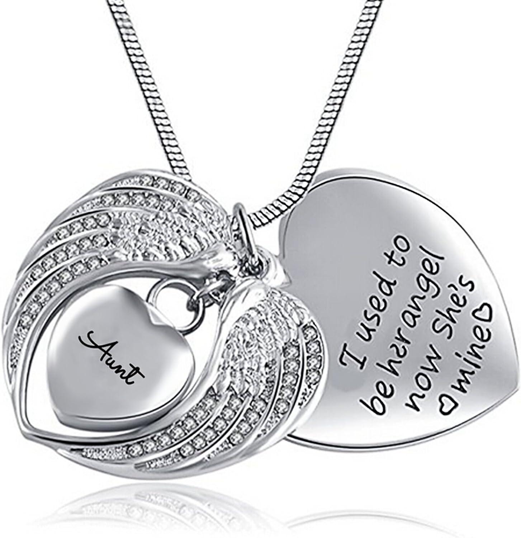Anyeda Collar con Urna Colgante de Acero Inoxidable Joyería para Cremación Collar Niña Sirenita Collar de Tía Urna con Alas de Corazón