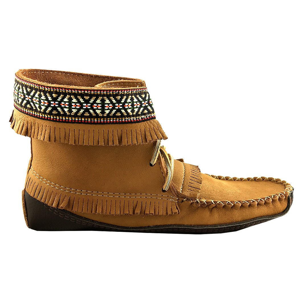 Amazon.com | Laurentian Chief Mens Fringe and Braid Apache Earthing Grouding Moosehide Cork Leather Sole Moccasins | Slippers