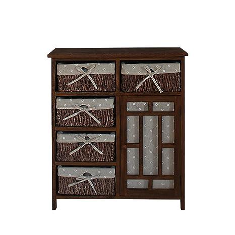 Mobili Rebecca® Aparador Mueble Multifuncional Marrón 1 Puerta 5 Cajones Madera Mimbre Tejido Cocina Dormitorio