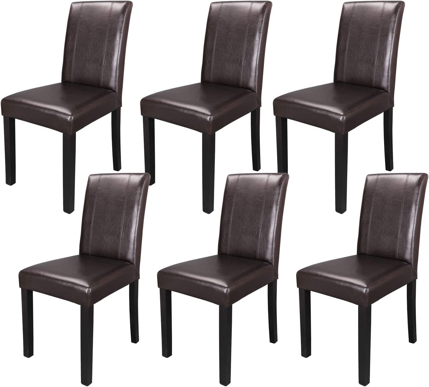 Amazon Com Zeny Set Of 6 Wood Leatherette Padded Parson Chair Dining Chair Brown Furniture Urban Style Chairs
