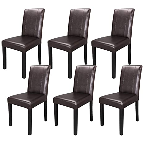 Wondrous Zeny Set Of 6 Solid Wood Leatherette Padded Parson Chair Dining Chair Brown Furniture Urban Style Cjindustries Chair Design For Home Cjindustriesco