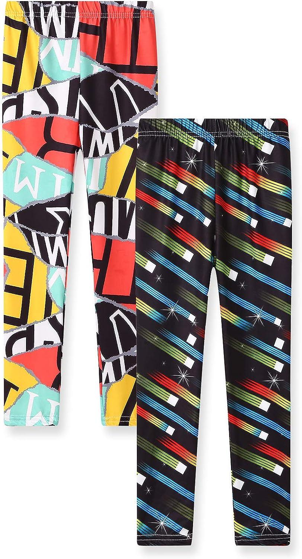 Leggings for Girls Size 3-12 Stretch Pants Sheecute Girls 2-Pack Leggings
