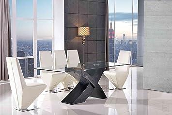MODERN FURNITURE DIRECT Valencia Grande Negro Madera 200 cm Cristal Mesa de Comedor + 8 sillas