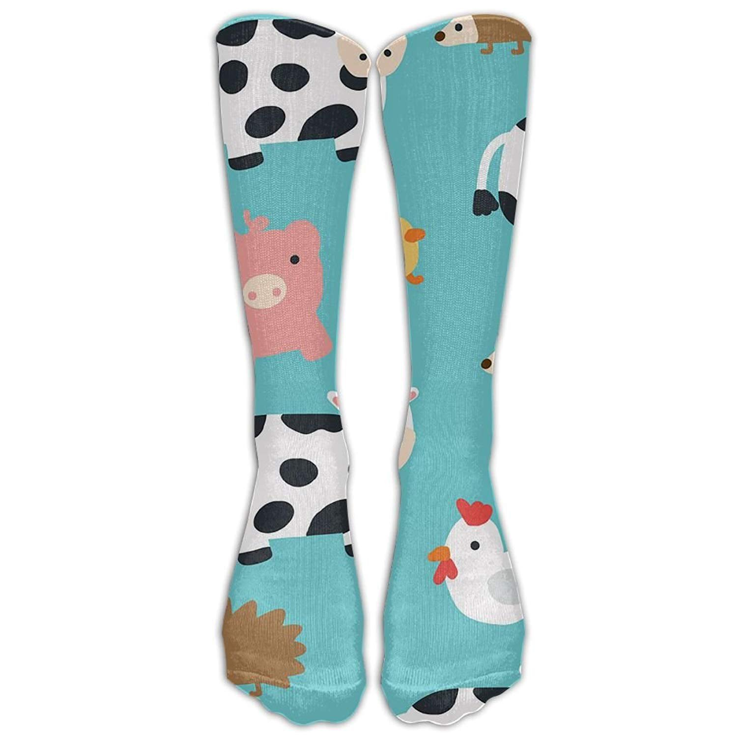 Womens Farm Animals Printed Sock Over Knee High Boots Girls Long Socks