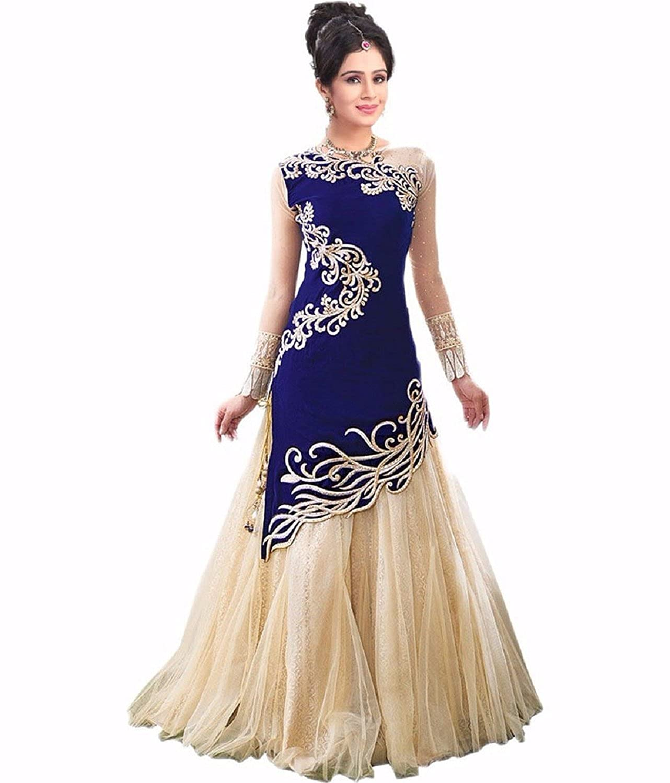 Fresh@Fashion Women's Velvet 2 Piece Gown ( fs1020_Blue & Cream ...