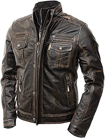 Mens Biker Quilted Vintage Motorcycle Distressed Brown Cafe Racer Leather Jacket