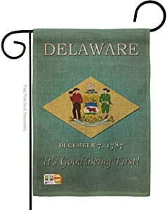 States Delaware Burlap Garden Flag Regional USA American Territories Republic Country Particular Area Small Decorative Gift Yard House Banner Double-Sided Made in 13 X 18.5