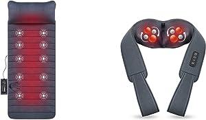 SNAILAX Memory Foam Massage Mat Neck Massager Bundle | 6 Therapy Heating pad,10 Vibration Motors Massage Mattress Pad, Full Body Massager Cushion Relieve Neck, Back, Waist, Legs Pain