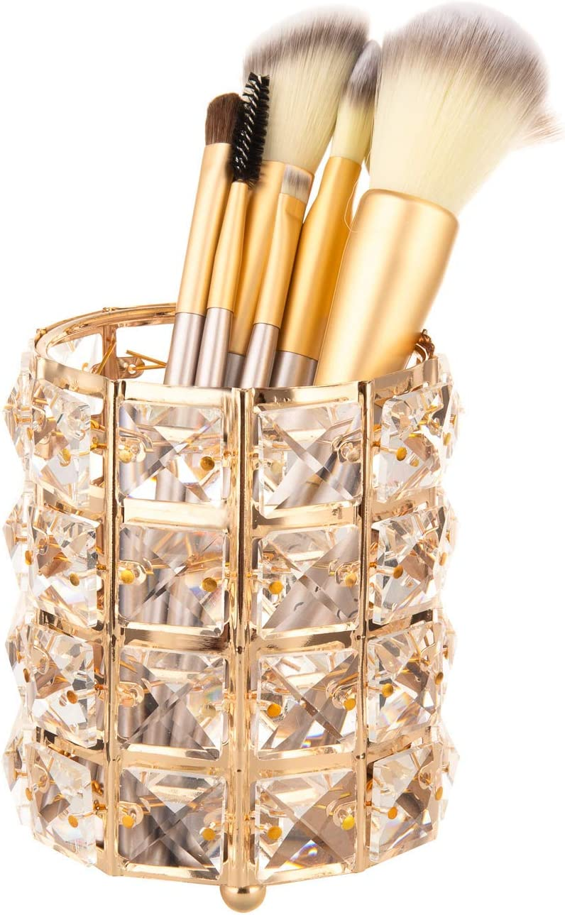Nipole Pen Pencil Container Holder Office Desk Accessories Container Make Up Brushed Storage Box (Crystal,Gold)