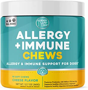 Ready Pet Go! Allergy Immune Supplement for Dogs with Itch Relief & Allergy Relief   Omega 3 for Dogs + Probiotics for Dogs   Anti Itch   Hot Spots   90 Vitamins for Dogs