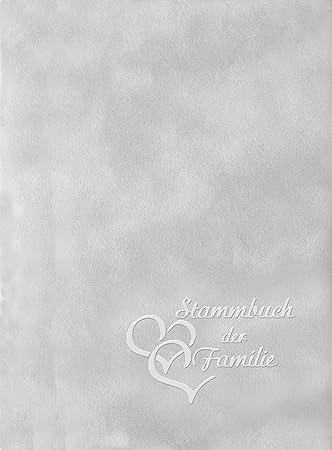 Herzpr/ägung Silber Format A5+ Exklusiv mit Ringmechanik Stammbuch Herzen Das perfekte Buch f/ür alle Formate Velours grau