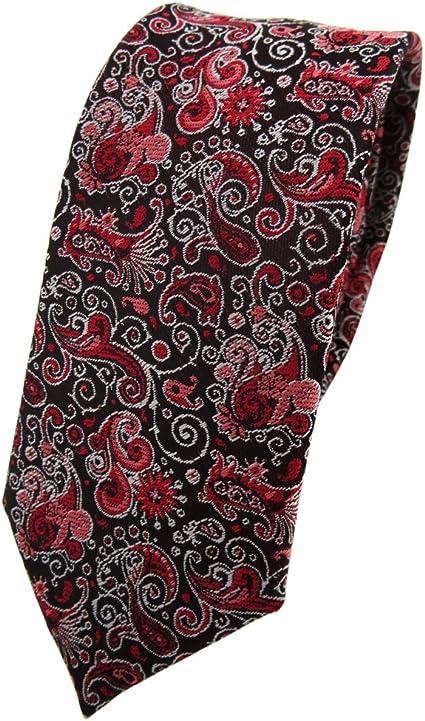 TigerTie - corbata estrecha - rojo burdeos rosa negro plata ...