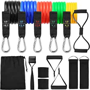 Handlive 150LB Resistance Bands Set for Home Workouts, Physical Therapy, Portable Exercise Bands with Handles, Gym Ankle Strap, Door Attachment, 8-Shaped Stretch Band, and Wrist Sweatbands