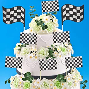 2pcs Glitter Race Car Cake Toppers 24pcs Black & White Checkered Racing Flag Party Cupcake Toppers Picks Food Toothpicks for Children & Adults Birthday ,Baby Shower ,Race Car Party,Racing Party,Sport Events