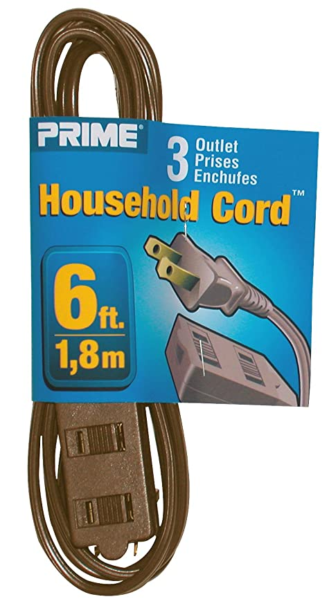 Prime Wire & Cable EC670606 6-Foot 16/2 SPT-2 3-Outlet Indoor Cord ...